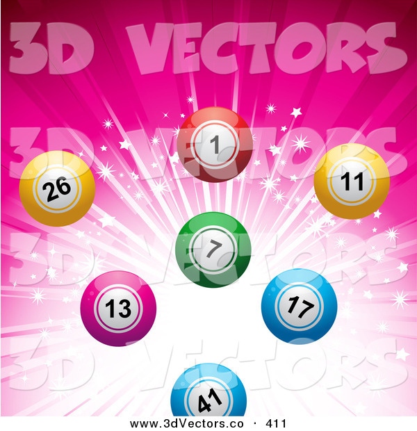 3d Vector Clipart of a Colorful Bingo or Lottery or Billiard Balls over a Sparkling and Bursting Pink Background