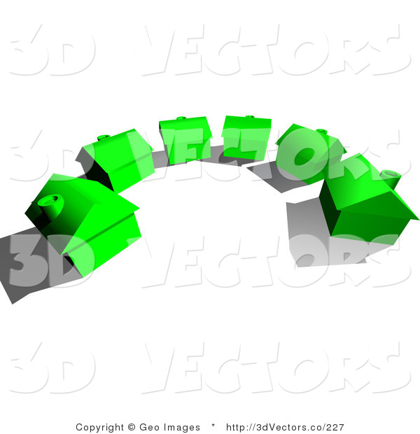 3d Vector Clipart of a Culdesac of Green Homes