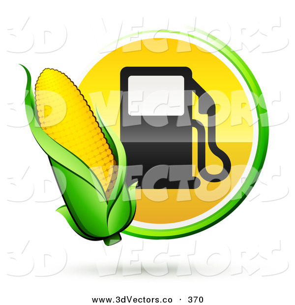 3d Vector Clipart of a Ear of Yellow Corn over a Green and Yellow Button with a Fuel Pump
