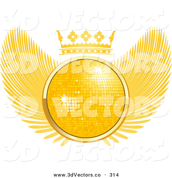 3d Vector Clipart of a Golden 3D Disco Ball Sparkling in the Middle of a Winged Crest with a Crown on Top