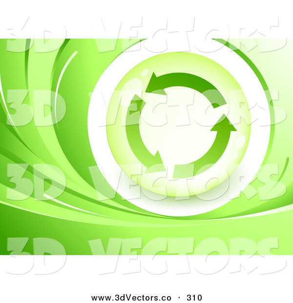 3d Vector Clipart of a Green and White Background of Waves Around an Orb with Three Circling Recycle ArrowsGreen and White Background of Waves Around an Orb with Three Circling Recycle Arrows