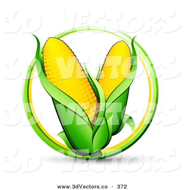 3d Vector Clipart of a Green and Yellow Circle Around a Couple Ears of Corn