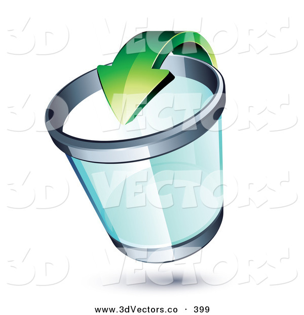 3d Vector Clipart of a Green Recycle Arrow Pointing into a See Through Chrome Rimmed Trash Can