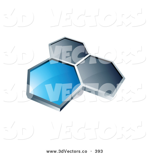 3d Vector Clipart of a Group of 3 Hexagons Connected like a Honeycomb, One Blue, Two Dark Blue, on a White Background