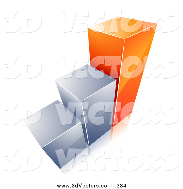 3d Vector Clipart of a Growing Bar Graph with Two Silver ...