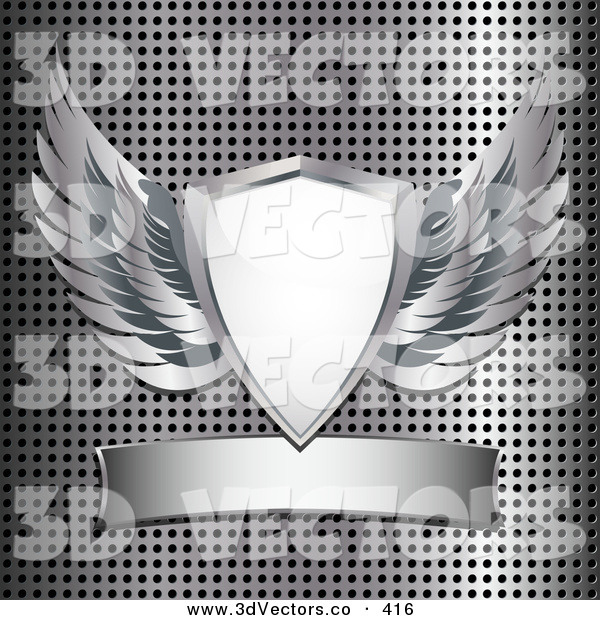 3d Vector Clipart of a Heraldic Shield with Silver Angel Wings, over a Metal Background with a Blank Banner