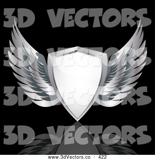 3d Vector Clipart of a Heraldic White Shield with Silver Wings, over a Reflective Black Background