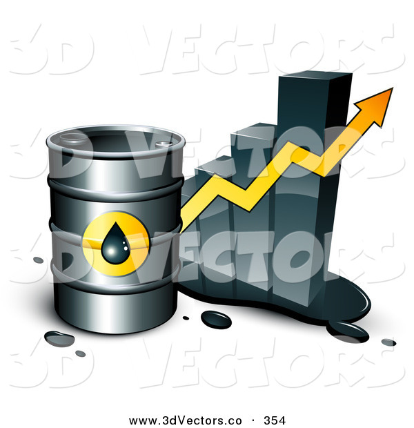 3d Vector Clipart of a Large Barrel of Gasoline and Yellow Arrow in Front of a Bar Graph Depicting a Steady Incline