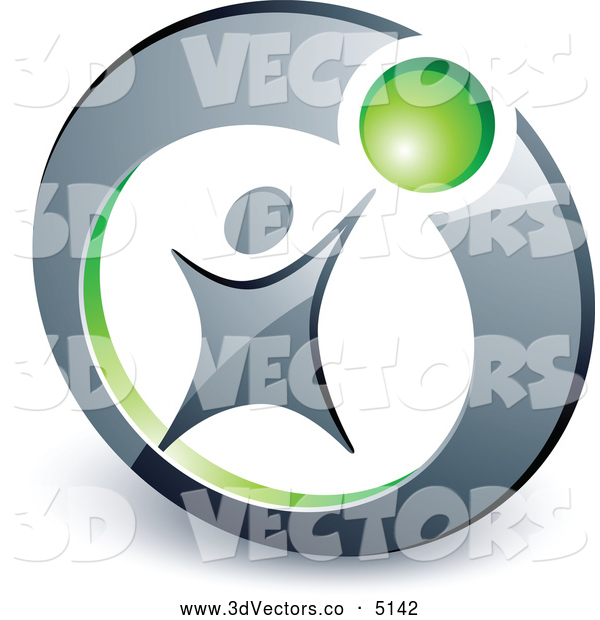 3d Vector Clipart of a Man Reaching up to a Green Ball in a Circle