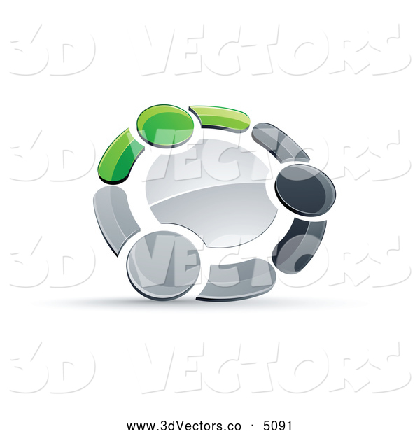 3d Vector Clipart of a Metallic Circle of Three Green, Gray and Black People Holding Hands