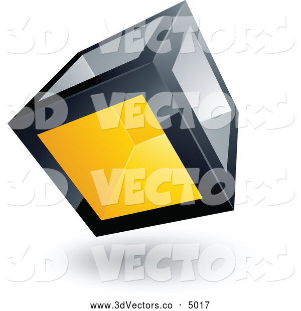 3d Vector Clipart of a Metallic Cube with One Yellow Transparent Window