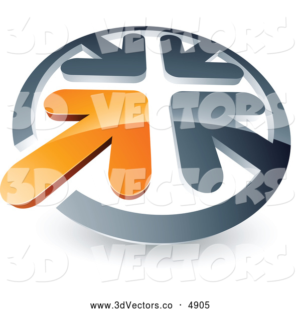 3d Vector Clipart of a Orange Arrow Standing out in a Circle of Chrome Arrows, on White