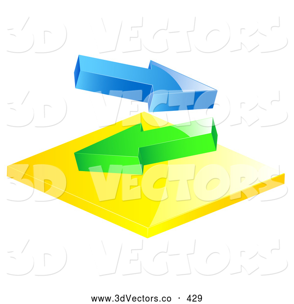 3d Vector Clipart of a Pair of Blue and Green Arrows Flowing in Different Directions