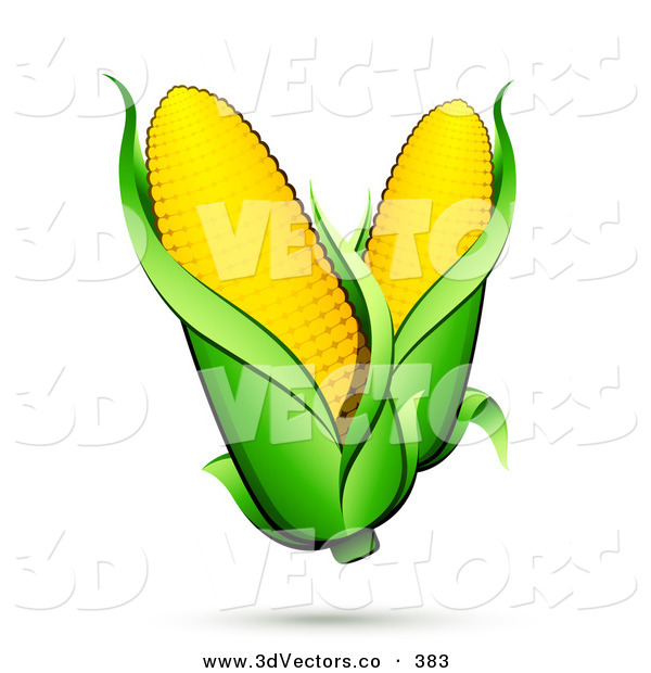 3d Vector Clipart of a Pair of Ears of Corn with Green Husks and a Shadow