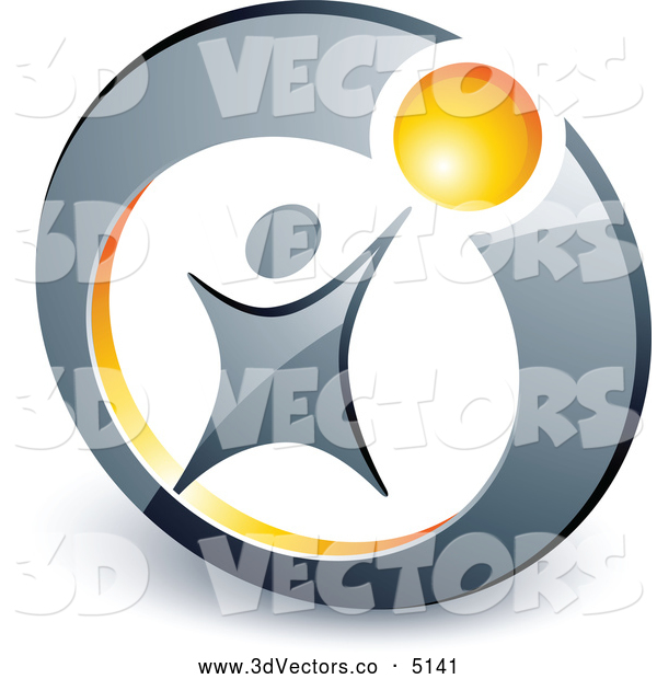 3d Vector Clipart of a Person Reaching up to a Yellow Ball Inside a Circle