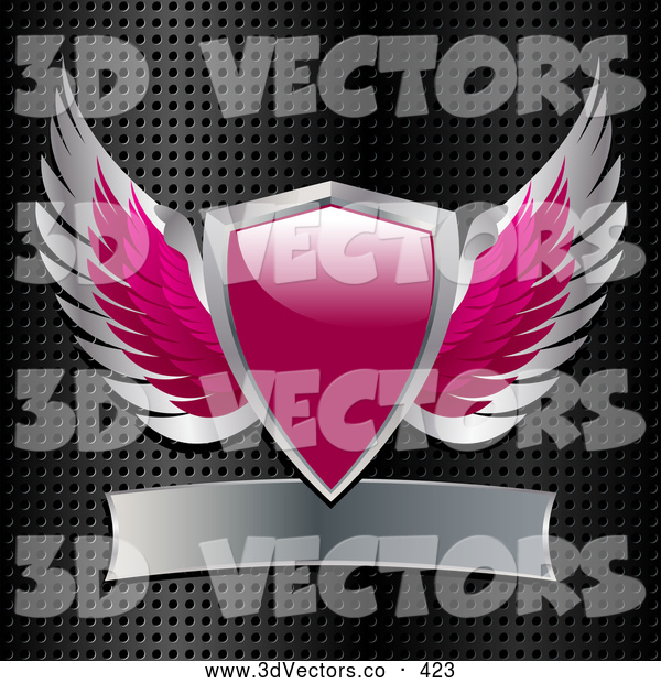 3d Vector Clipart of a Pink and Silver Heraldic Winged Shield with a Blank Banner on a Grid Background