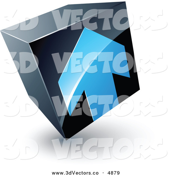 3d Vector Clipart of a Pre-Made Logo of a Blue Arrow Pointing up on a Tilted Black Cube