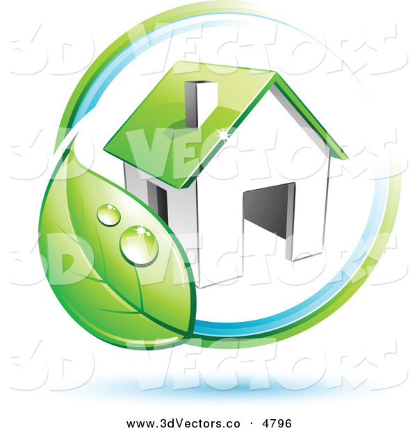 3d Vector Clipart of a Pre-Made Logo of a Circling Dewy Green Leaf Around a House on White