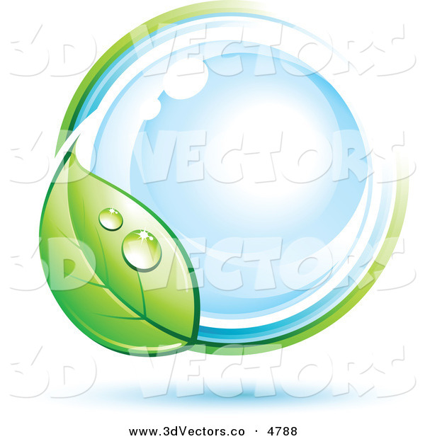 3d Vector Clipart of a Pre-Made Logo of a Dewy Green Leaf Circling a Blue Orb on White