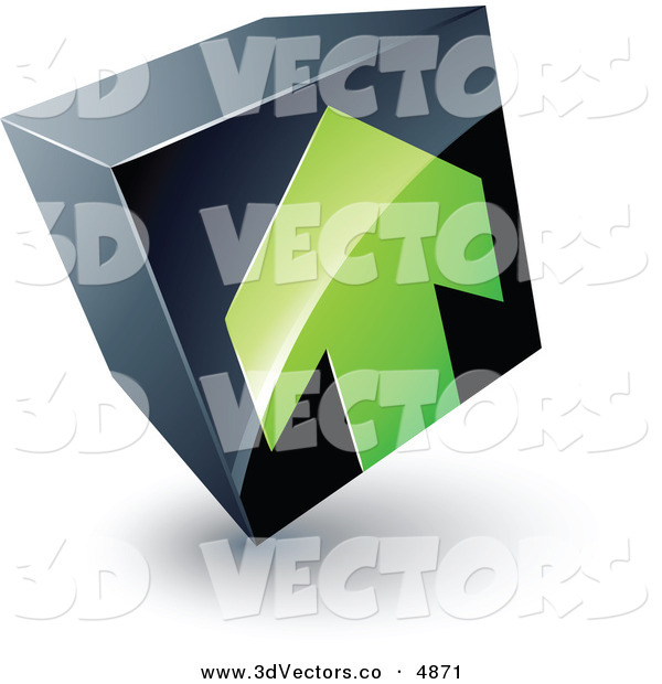 3d Vector Clipart of a Pre-Made Logo of a Green Arrow Pointing up on a Tilted Black Cube