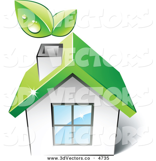 3d Vector Clipart of a Pre-Made Logo of a Green House with Leaves Sprouting from the Chimney