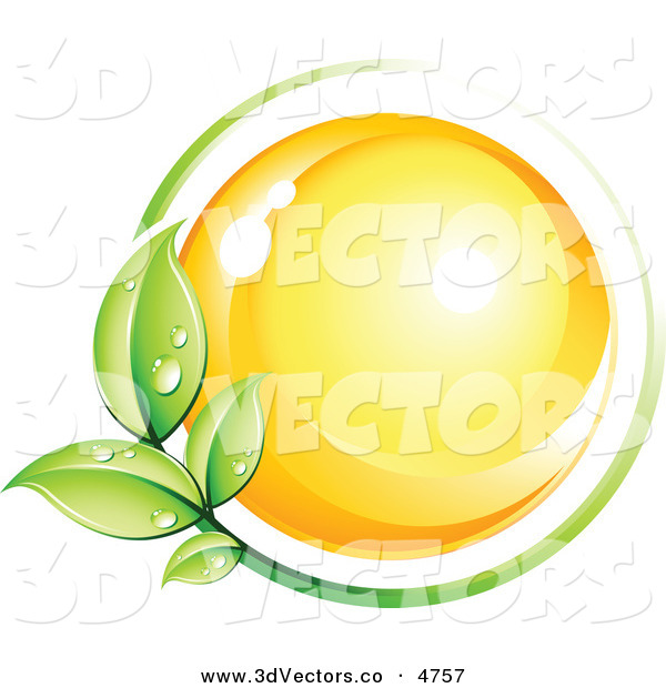 3d Vector Clipart of a Pre-Made Logo of a Green Leafy Vine Circling a Yellow Orb