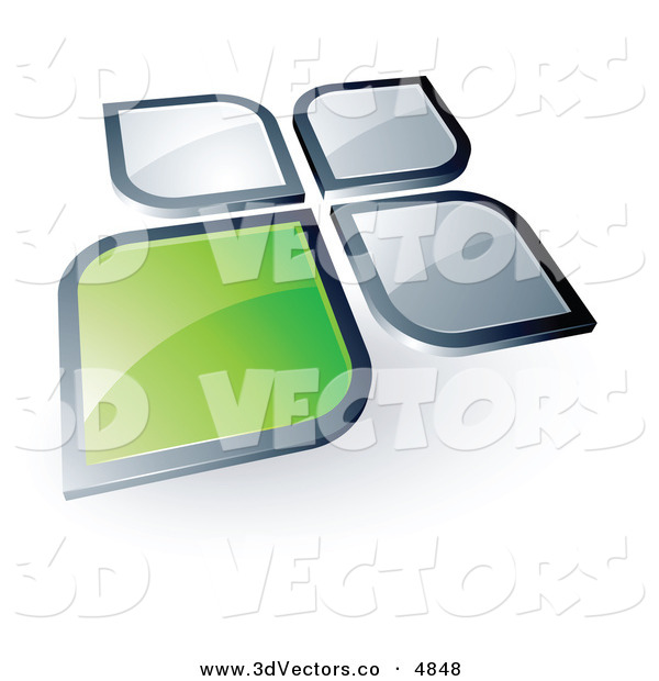 3d Vector Clipart of a Pre-Made Logo of a Green Square or Petal Standing out from Gray Ones on White