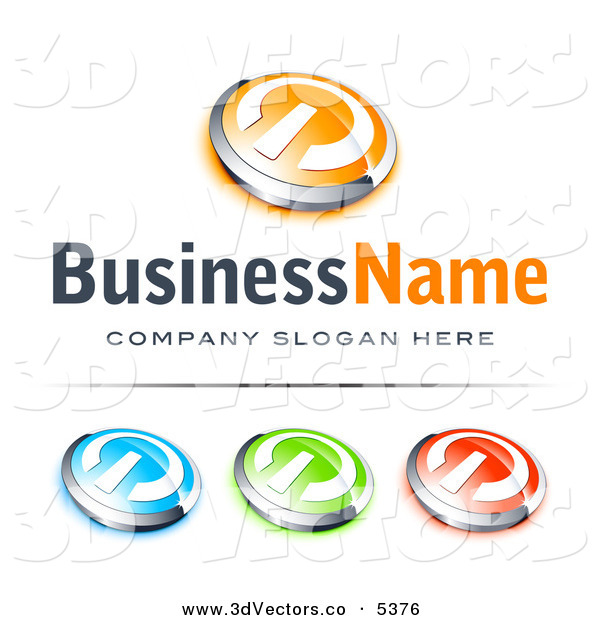 3d Vector Clipart of a Pre-Made Logo of a Group of Orange and Chrome Power Button, Blue Green and Red Buttons Also Included, with Space for a Business Name and Company Slogan Below