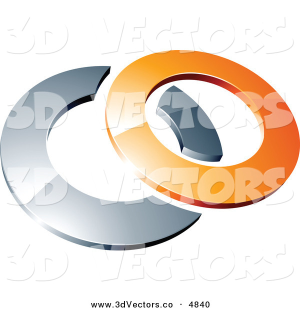 3d Vector Clipart of a Pre-Made Logo of a Orange Shiny 3d Ring over a Silver Circle