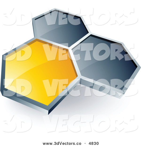 3d Vector Clipart of a Pre-Made Logo of a Single Yellow Honeycomb Connected to Two Others