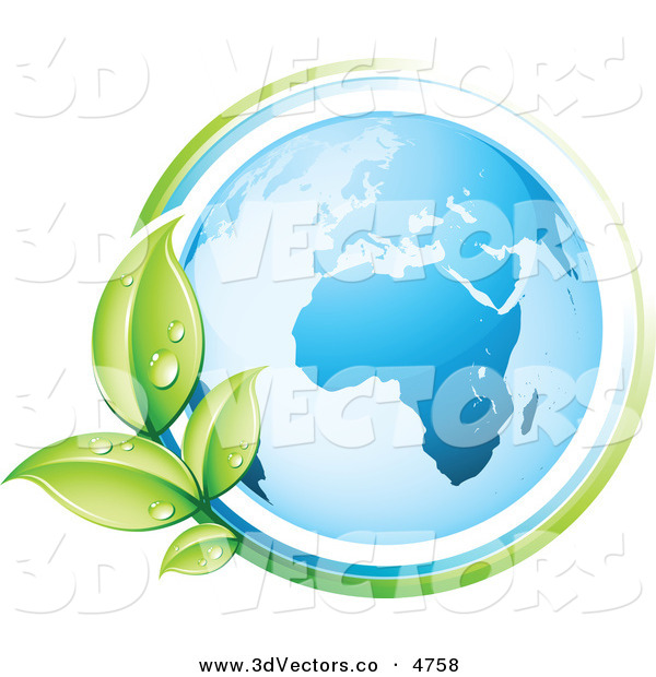 3d Vector Clipart of a Pre-Made Logo of a Vine Circling the Planet Earth