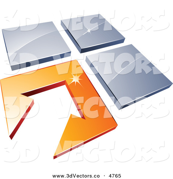 3d Vector Clipart of a Pre-Made Logo of a White Arrow in an Orange Flooring Tile, Beside Three Blue Tiles