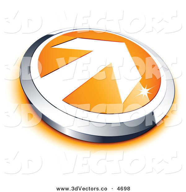 3d Vector Clipart of a Pre-Made Logo of a White Arrow on an Orange and Silver Button