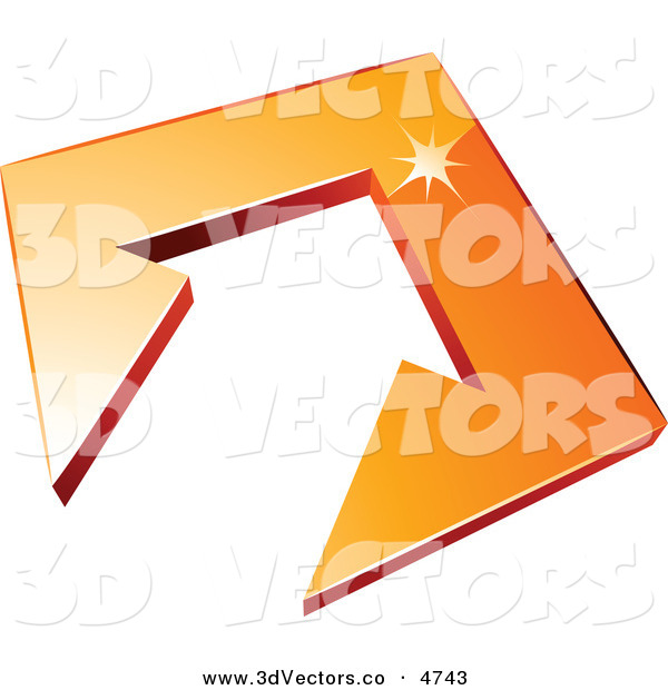 3d Vector Clipart of a Pre-Made Logo of an Arrow in an Orange Tile Pointing up