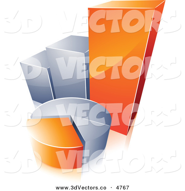 3d Vector Clipart of a Pre-Made Logo of an Orange and Silver Pie Chart and Bar Graph on White