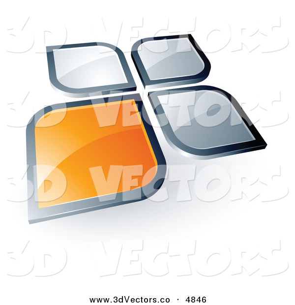 3d Vector Clipart of a Pre-Made Logo of an Shiny Orange Square or Petal Standing out from Gray Ones
