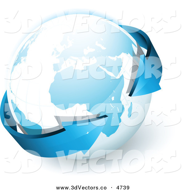 3d Vector Clipart of a Pre-Made Logo of Blue Arrows Circling Around Planet Earth