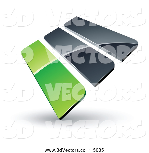 3d Vector Clipart of a Pre-Made Logo of Green and Gray Bars on White