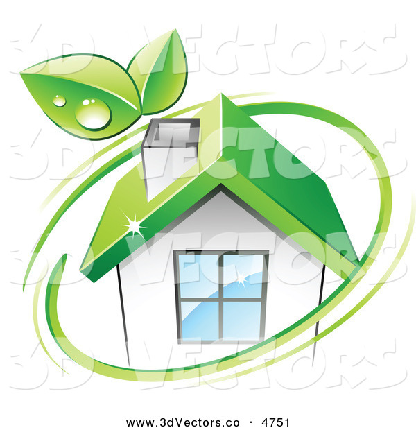3d Vector Clipart of a Pre-Made Logo of Leaves and a Green Circle over an Eco Friendly House