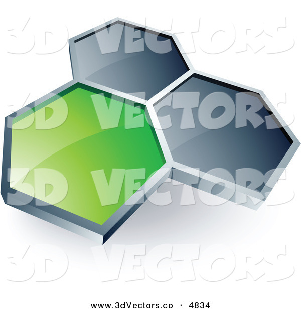 3d Vector Clipart of a Pre-Made Logo of One Green Honeycomb Connected to Two Others on White