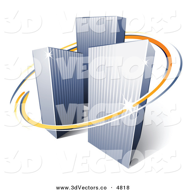 3d Vector Clipart of a Pre-Made Logo of Orange and Blue Lines Circling a Trio of Tall City Skyscrapers