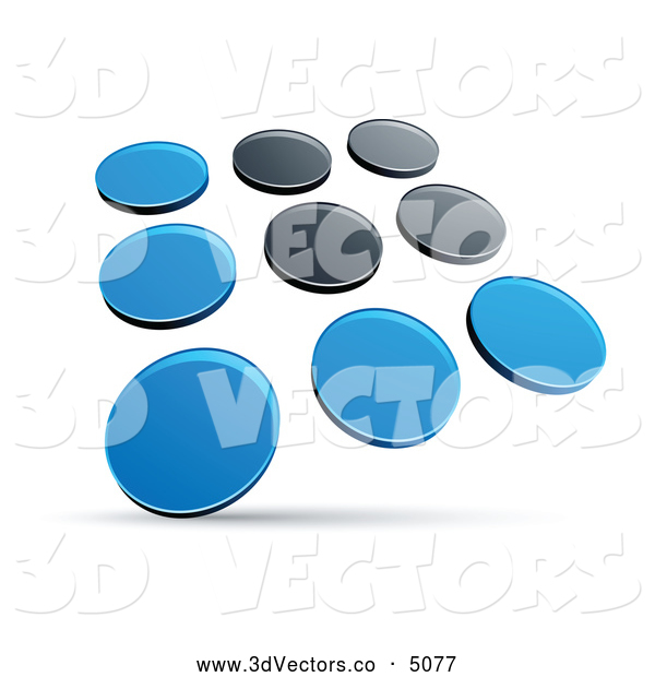 3d Vector Clipart of a Pre-Made Logo Set of Rows of Blue and Black Dots