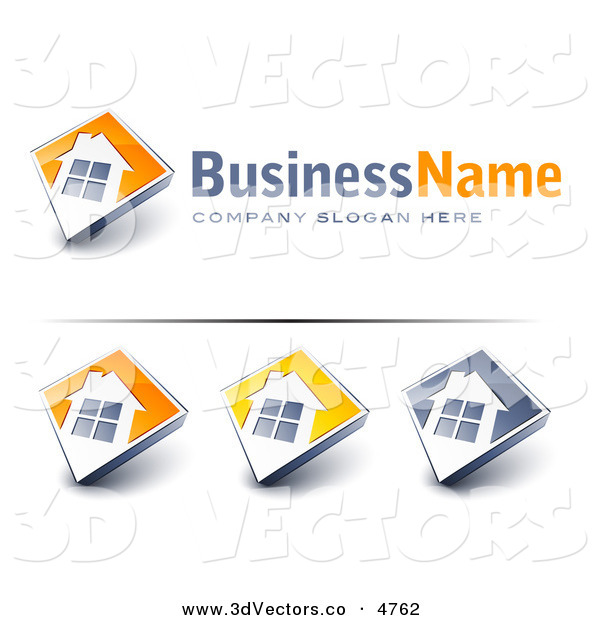 3d Vector Clipart of a Pre-Made Logos of Large Windows on Home with Space for a Business Name and Company Slogan on White