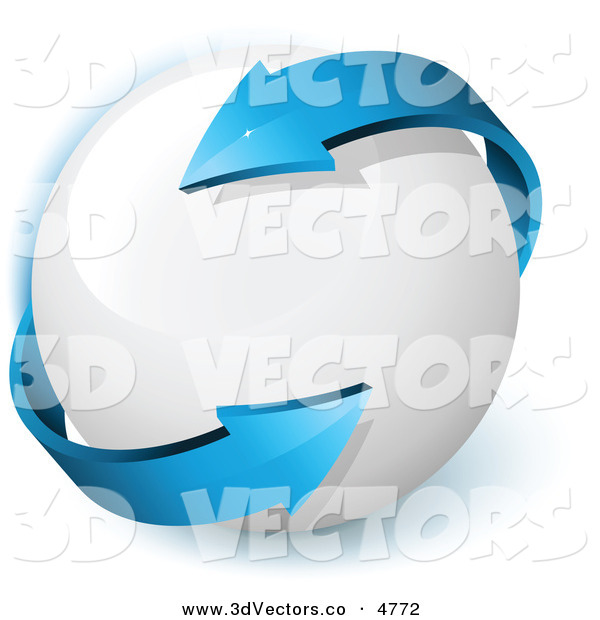 3d Vector Clipart of a Pretty Pre-Made Logo of a Double Sided Blue Arrow Twirling Around a White Orb