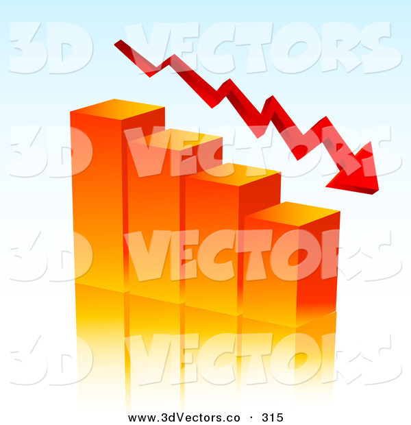 3d Vector Clipart of a Red Arrow Curving Downwards with an Orange Bar Graph Depicting Loss and Debt