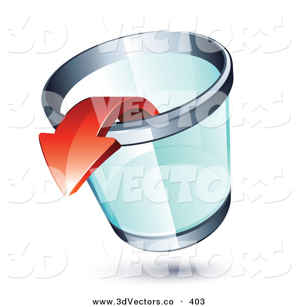 3d Vector Clipart of a Red Arrow Pointing out of a Transparent Chrome Rimmed Trash Can on White