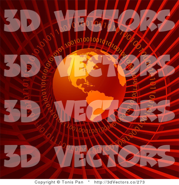 3d Vector Clipart of a Red Binary Code Tunnel and Globe