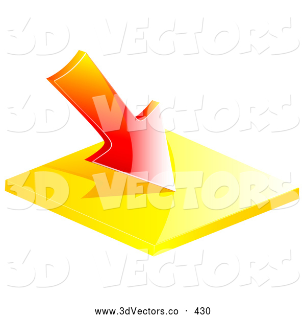 3d Vector Clipart of a Red Loss Arrow Pointing Downward