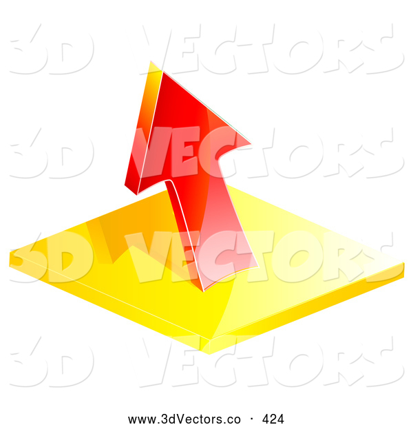3d Vector Clipart of a Red Profit or Loss Arrow Pointing up