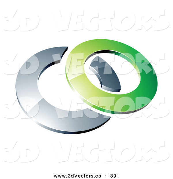 3d Vector Clipart of a Reflective Green 3d Circle Resting on a Chrome Ring, on a White Background